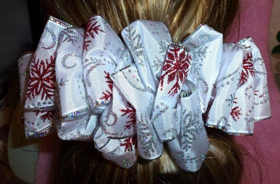 Becky Bows ~ ROSETTE Barrette Hand crafted giant huge Scarf BIG hair bow Women or Girls silver white red snowflakes