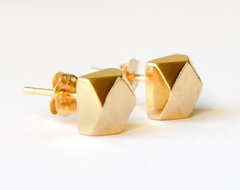 14K Gold Stud Earrings - Geometric Faceted Nickle Free Solid 14 Karat Gold Earrings - Eco Friendly Ethically Sourced Jewelry - HookAndMatter