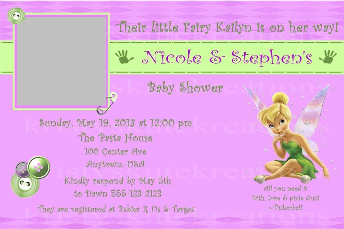 Disney\'s Tinkerbell Baby Shower Invitation OR Thank you
