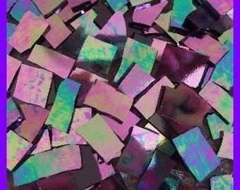 """Mosaic Tile HOT IRIDESCENT 1/2 - 1"""" Stained Glass Mosaic Tiles"""