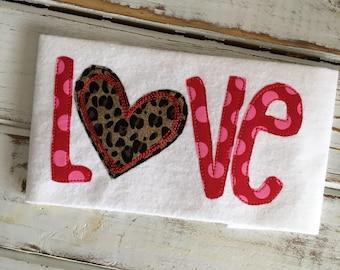 Love Valentine's Day Heart Bean Stitch Applique Embroidery Design 5x7 6x10 8x8 8x12