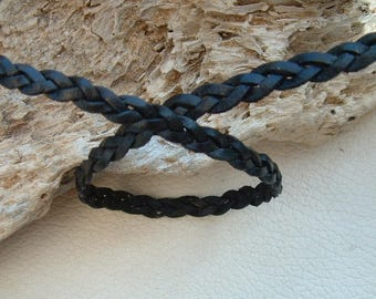 50cm cord width 7mm black braided leather