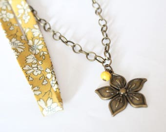 Liberty Capel mustard necklace and Flower necklace