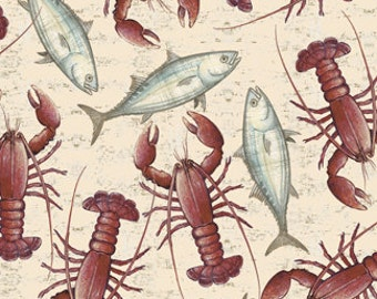 Nautical Fabric, Lobster Fabric, Fish Fabric - Seaside by Quilting Treasures - 24656 - Priced by the Half yard