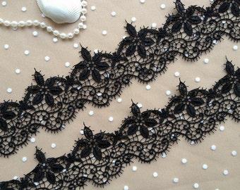Black Lace Trim, Exquisite Venice Lace, Black Bridal Lace, Wedding Dress Sashes Belts