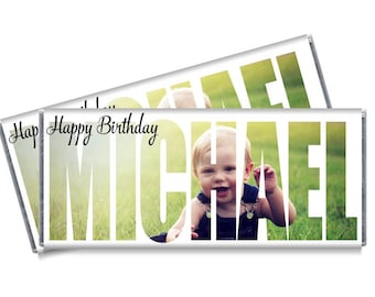 Personalized Photo Cutout Candy Bar Wrappers - Personalized Photo Birthday Party Favors - Set of 12