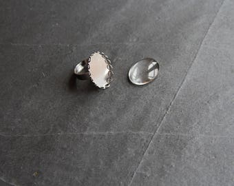 Kit ring cabochon 18 x 25, platinum silver color