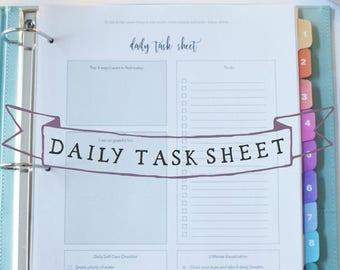 Daily Task Sheet - Morning Worksheet - Self-Care Worksheet - Mindset Worksheet