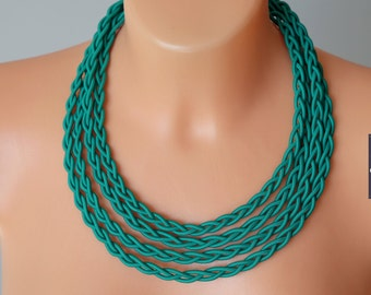 Braided green necklace, Pigtail necklace, Stylish necklace, Unique necklaces for women, Fabric statement necklace, Tribal green necklace