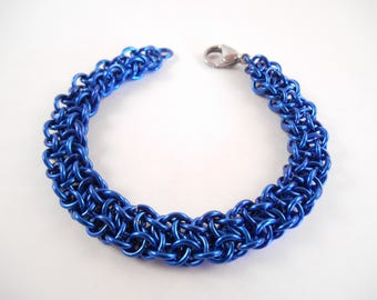 Vipera Berus Bracelet - Royal Blue Anodized Aluminum Vipera Berus Chain Maille Bracelet