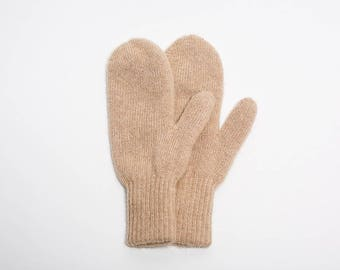 Pure camel wool mittens - beige