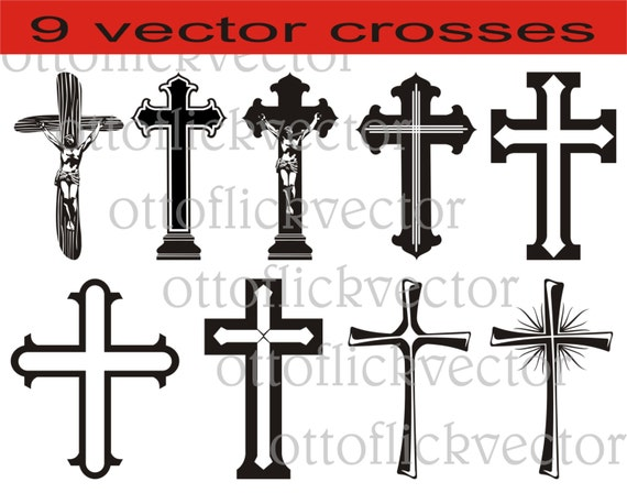 Christian Crosses Vectors Clipart Silhouettes Digital Cut Print