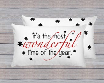 It's the Most Wonderful Time of the Year Pillow, Holiday Gift, Holiday Hostess Gift, Christmas Pillow, Holiday Home Decor, Christmas Decor