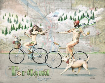 Portland Naked Bike Ride Print, tattooed Portland bikers art, Portland art print, Portland map art, Portland illustration with beer and wine