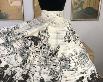 1950s Vintage Hand Painted and Sequined Mexican Circle Skirt -- Dramatic Rodeo Scene Surrounded by Cheering Crowd!