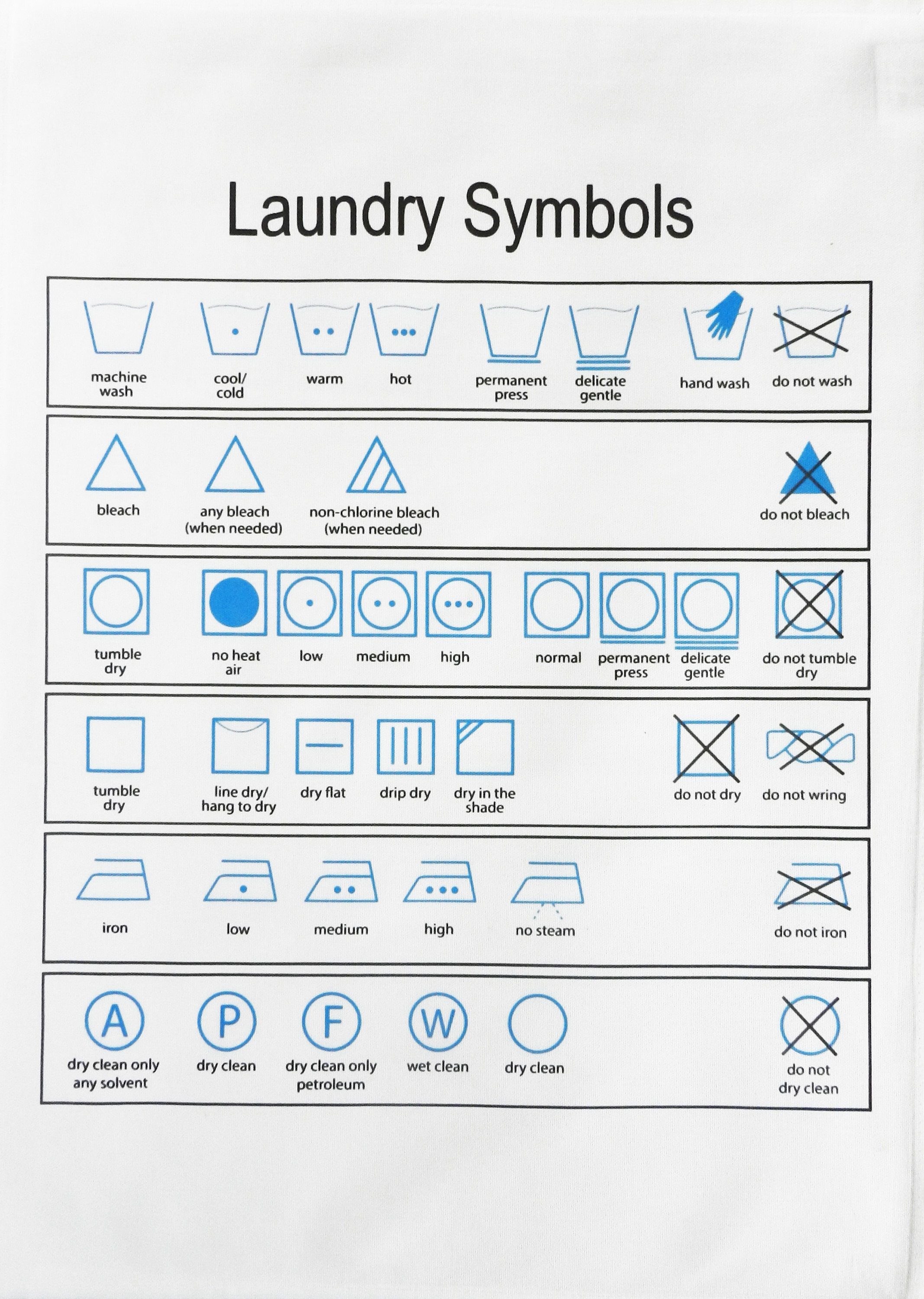 Laundry Symbols Large Cotton Tea Towel For The Laundry Expert