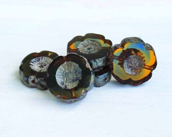6 Czech Glass Beads 14mm Hawaiian Pansy Flower Autumn Tones - CB030