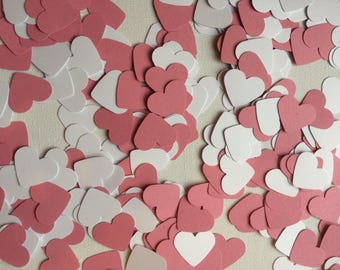 Pastel Pink and White Heart Table Confetti, Table Confetti, Decorations, Valentines, Parties, Weddings, Baby Showers, Celebrations,