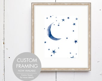Evening Sky Watercolor Print -  SMc. Originals, watercolor painting, nursery decor, nursery art, moon and stars print, evening, night