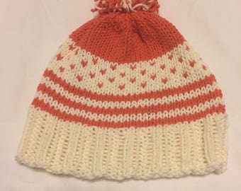 Striped and Fair Isle Hat with Pom Pom