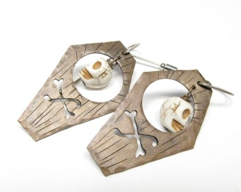 Coffin Skull Earrings