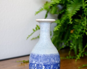 Blue Floral Decal Handmade Ceramic Bottle, Pottery Bottle, Ceramic Bud Vase, Floral Design, Home Decor, Housewarming Gift, Gifts for Her Him