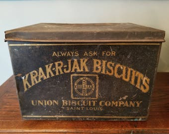 Vintage Large Fine Black Primitive Krak-R-Jak Biscuits Tin Cannister Box