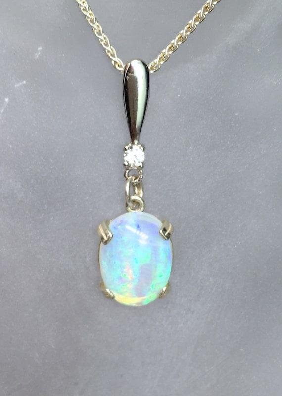 Blue Opal Pendant, 925 Sterling Silver, 10x8mm Teardrop Shape