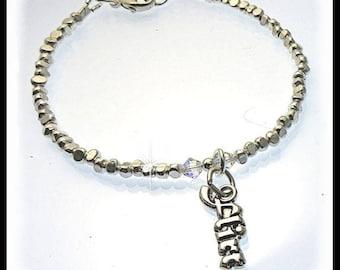 "Flirt charm fine silver bracelet, flirtatious charm bracelet, fine silver bracelet, stacking bracelet, trendy bracelets, 8"" bracelets"