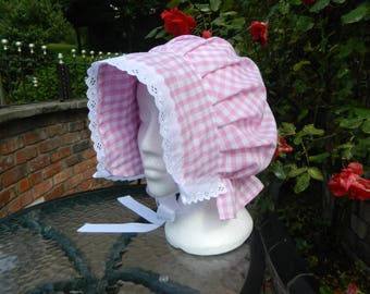 Girls little bo peep, little miss moffet, pink gingham bonnet, age 5 +