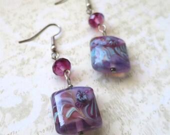 Handmade glass bead earrings pink