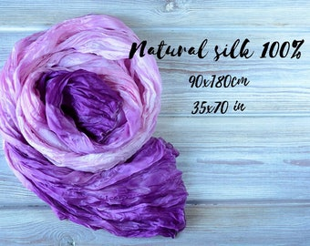 Purple silk scarf for women - hand painted mom wife birthday gifts