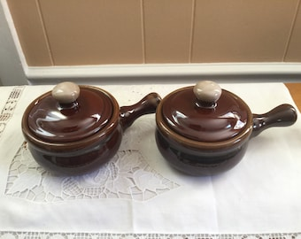 Bean pot soup bowls, drip glazed, set of two with handles, soup cups