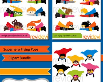 Superhero clipart bundle sale / Flying superhero clip art - superheroes graphics, boys girls fly - commercial use digital images