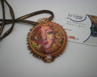 Soutache pendant  painting handmade indossa l'arte 'le lacrime di Freya's jewelles