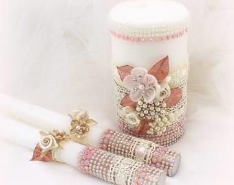 Wedding Unity Candle Set Rose Gold Ivory Blush Rose Gold Beaded Wedding Candles Elegant Vintage Candle Set Wedding Gift