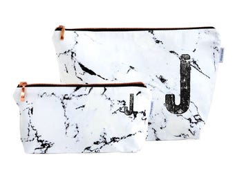 MARBLE bag // monogrammed personalized marble makeup bag pencil case rose gold copper zipper black marble made by renna deluxe