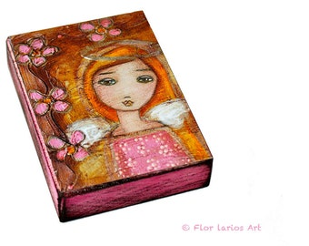 Be Kind Angel - ACEO Giclee print mounted on Wood (2.5 x 3.5 inches) Folk Art  by FLOR LARIOS