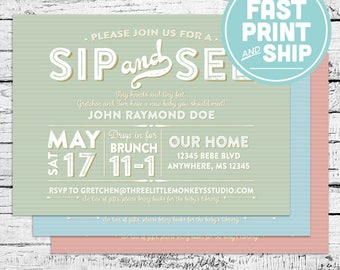 Printed Sip and See Baby Shower or Sprinkle Invitations and Envelopes