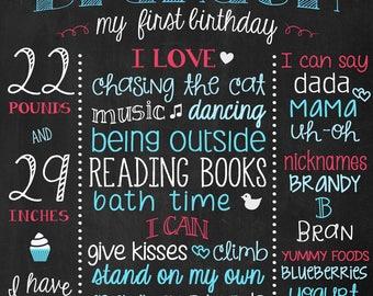 Chalkboard Boy Birthday Poster - 1st Birthday Board - First Birthday Poster - Turquoise and Red Boy Birthday Printable