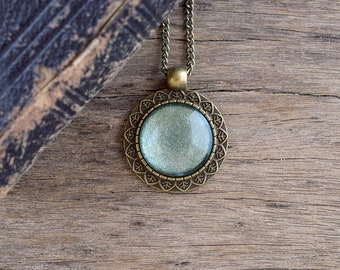 Seafoam green necklace, Sage green sparkle pendant, Light green glass cabochon necklace, Summer necklace, Green jewelry Brass jewelry SJ 092