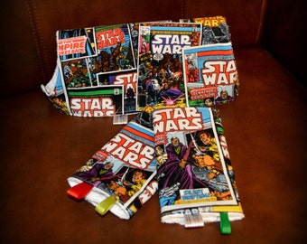 Star Wars Comic Drool Pads & Top Bib SET // Designer fabric and White Terry Cloth Backing