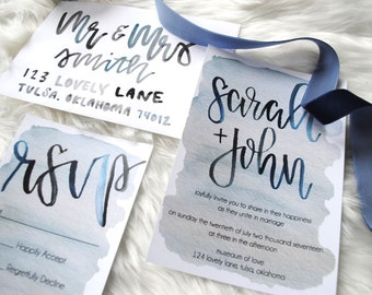 Baby Blues Watercolor Wedding Invitation Suite