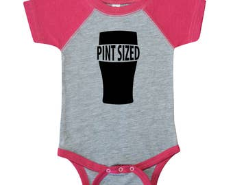 Pint Sized - Funny Beer Glass Baby Girl One Piece Bodysuit or Toddler / Children's T-shirt - Sleeve Color Options Available!