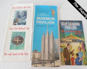 Vintage 1964-1965 NY World's Fair Memorabilia/Billy Graham Pavilion/Mormon Pavilion