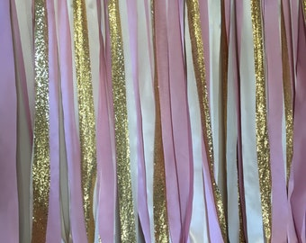 Ivory Blush Pink And Gold Baby Shower Backdrop Cream Fabric