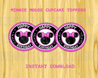 Minnie Mouse DIY Cupcake or Cakepop Toppers (2.2 inches)