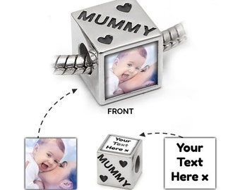 Custom Charm | Photo & Message in 925 Silver | Mummy Message | Pandora Bead Compatible - Personalised Jewellery