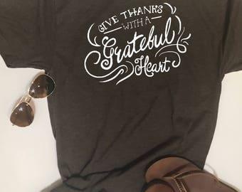Custom Glitter Give Thanks Glam Shirt | Womens Fall Shirt | Women's Autumn Shirt