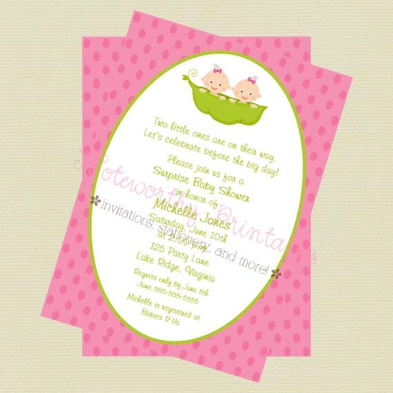 Two peas in a pod twin girls baby shower invitationtwin girls filmwisefo Image collections
